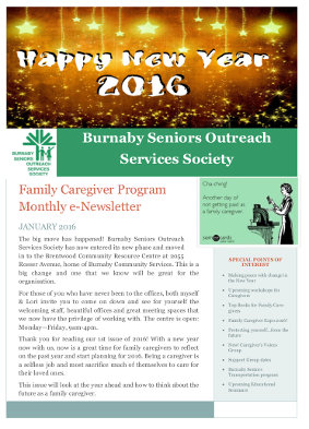 Caregivers Newsletter January 2016