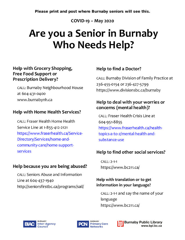 Resources for Burnaby Seniors